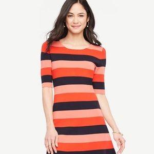 Elbow Sleeves Striped Sweater Swing Dress